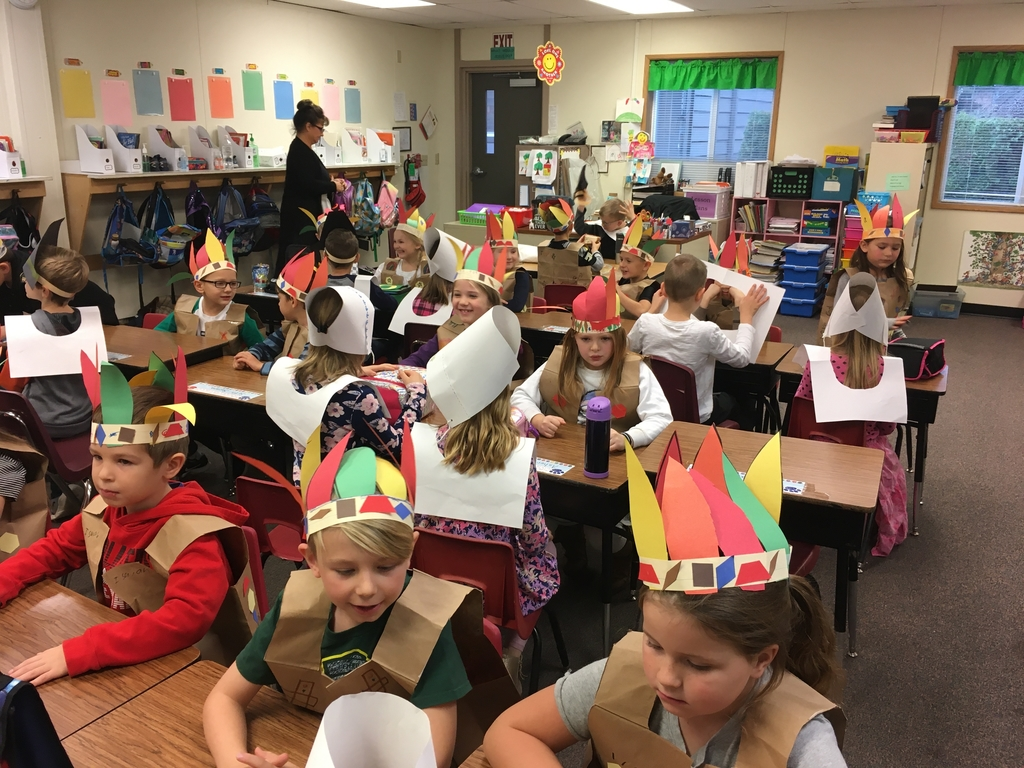 First and second graders Thanksgiving feast